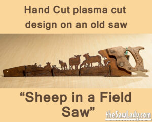 metal art sheep herd plasma cut saw