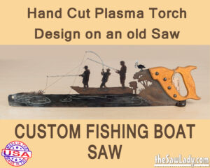 Metal art custom fishing boat saw