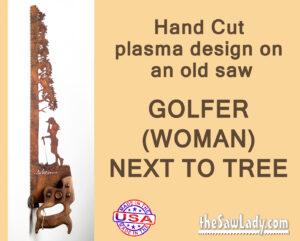 metal art woman golfer saw gift