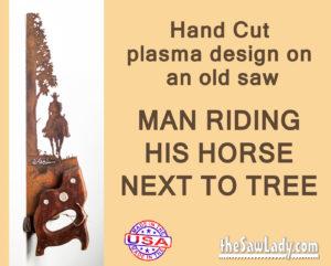 Metal art cowboy riding horse saw gift